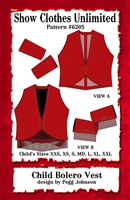 Bolero, bolero western vest pattern,  bolero, vest pattern, sewing pattern, sew your own show clothes, Show Clothes Unlimited, Pegg Johnson, Show Clothes Unlimited patterns, Show Clothes Unlimited Equestrian Wear patterns