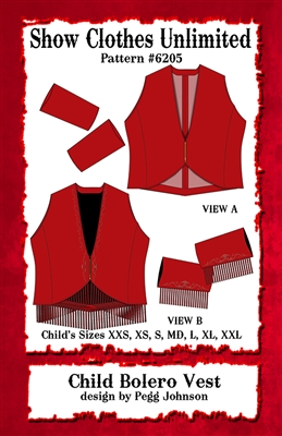 bolero western vest pattern,  bolero, vest pattern, sewing pattern, sew your own show clothes, Show Clothes Unlimited, Pegg Johnson, Show Clothes Unlimited patterns, Show Clothes Unlimited Equestrian Wear patterns