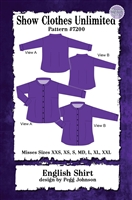 Button front shirt, english shirt, Show Clothes Unlimited, Pegg Johnson, Show Clothes Unlimited patterns, Show Clothes Unlimited Equestrian Wear patterns