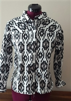 Misses rail shirt,  black and white print, western shirt, rail shirt, rodeo, ranch riding, pleasure shirt, shirt, misses, misses shirt, Pegg Johnson, Show Clothes Unlimited patterns, Show Clothes Unlimited Equestrian Wear patterns