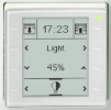 Semi flush mounted room controller and display