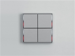 Pushbutton 4-fold - red/white LED