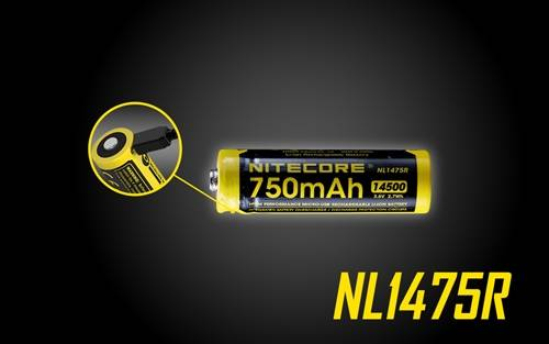 NITECORE NL1475R 750mAh 14500 Built-in Micro-USB Rechargeable Li-ion Battery