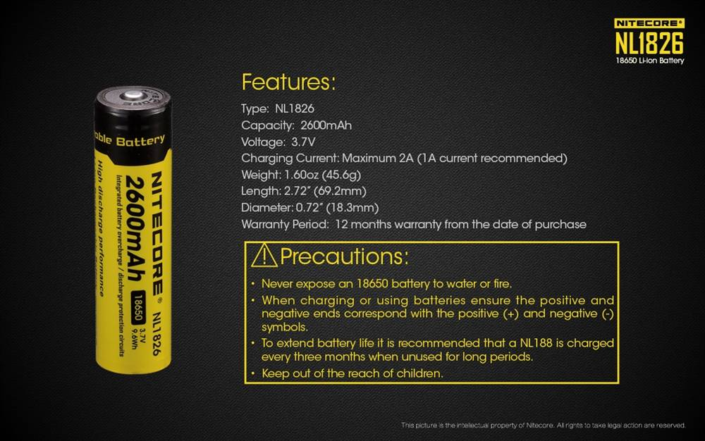 Nitecore NL1826 2600mAH 18650 Rechargeable Battery