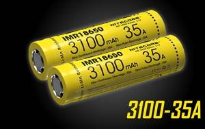 Nitecore IMR 3100 mAh 35A 18650 Rechargeable Batteries for Vaping Devices - 2 Pack