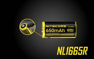NITECORE NL1665R 650mAh 16340 Built-in Micro-USB Rechargeable Li-ion Battery