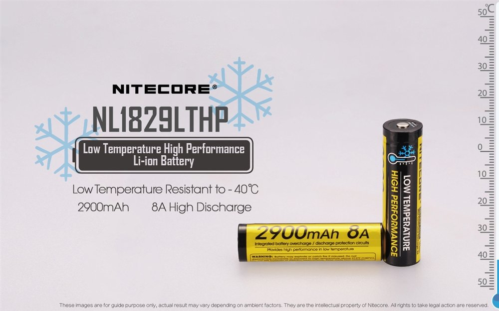 NITECORE NL1829LTHP 2900mAh Low Temperature Resistant High Performance  Rechargeable 18650 Battery