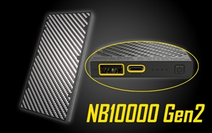 NITECORE NB10000 10000mAh QC Quick-Charge USB and USB-C Dual Output, Ultralight Carbon Fiber Power Bank