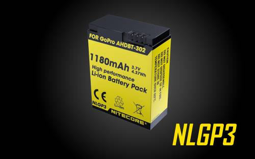 NITECORE NLG3 Battery 1180mAh 3.7V - Rechargeable for GoPro HERO3 [AHDBT-302]