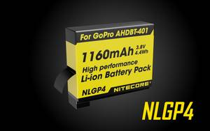 NITECORE NLGP4 Battery 1160mAh 3.8V - Rechargeable for GoPro HERO4 [AHDBT-401]
