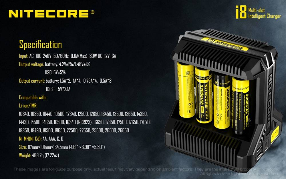 Universal Li-ion Ni-MH Ni-Cd Smart Charger 4 Slot for 18650//16340//26650//14500