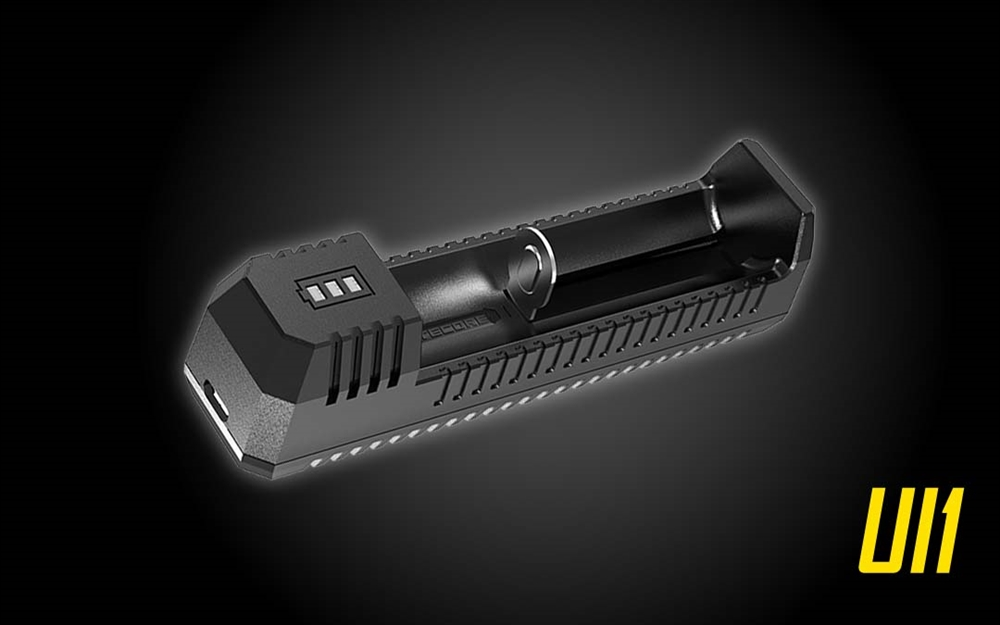 NITECORE UI1 Single-Slot Intelligent USB Lithium-ion Battery Charger for  18650, 18350, 20700, 21700 etc
