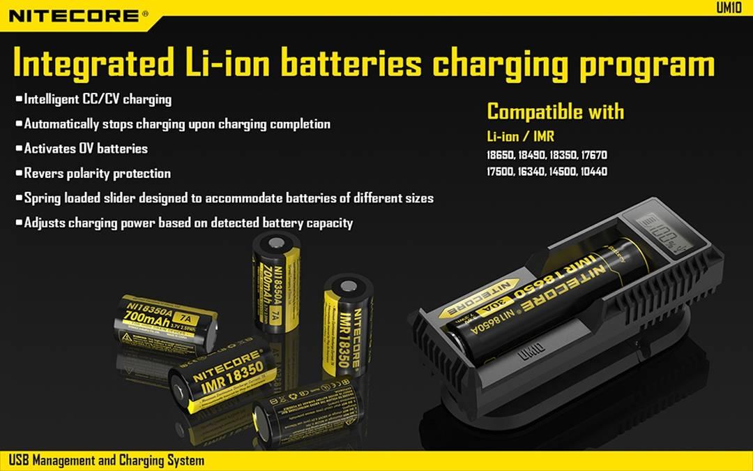 Nitecore UM10 Digital Smart Charger for 18650 17650 17670 RCR123A 16340 on