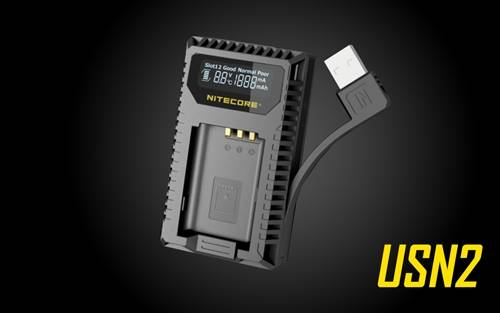 NITECORE USN2 Dual Slot Digital USB Travel Charger for Sony NP-BX1 Camera Batteries