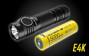 NITECORE E4K 4400 Lumen EDC Flashlight with 5000mAh Custom >15A USB-C Rechargeable Battery