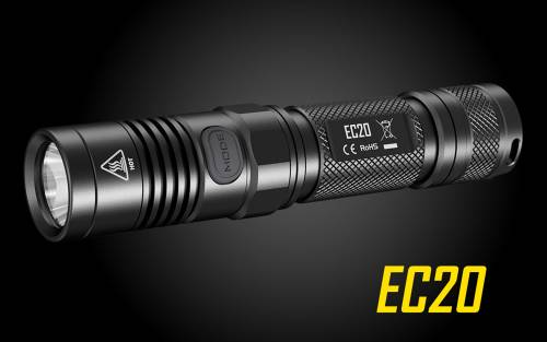 Nitecore EC20 242 Yards Compact Cree XM-L2 LED Flashlight- Use 2x CR123A or 18650-960 Lumen
