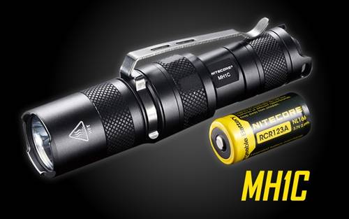 Nitecore MH1C 600 Lumen Rechargeable LED Flashlight - Use 1x RCR123A or 1x CR123A