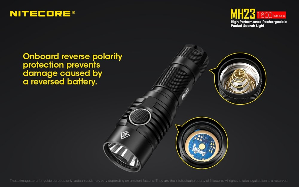 NITECORE MH23 1800 Lumen USB Rechargeable Compact EDC LED Flashlight w// Holster