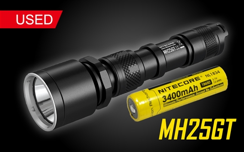 Nitecore MH25GT Rechargeable LED Flashlight - Use 2x CR123A or 1x 18650-1000 Lumen - Used
