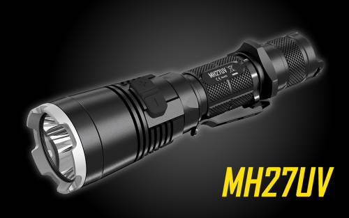 NiteCore MH27UV Rechargeable LED Flashlight w/ Red, Blue, and UltraViolet Light - 1000 lumens