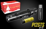 NITECORE P12GTS 1800 Lumen LED Tactical Flashlight Holiday Gift Set with NL1835HP Rechargeable Battery & UI1 Charger