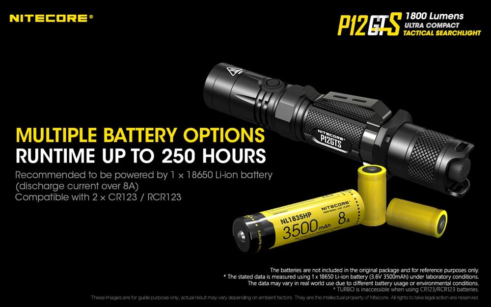 NITECORE P12GTS 1800 lm LED Tactical Flashlight Premium Battery /& Charger