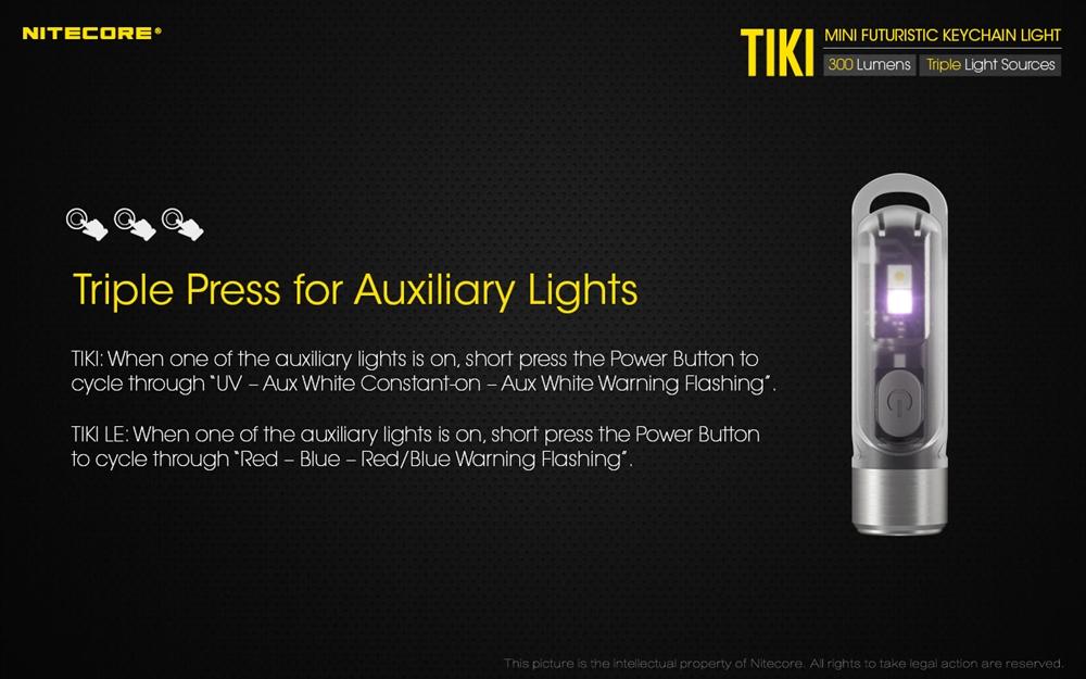 Nitecore Tiki GITD 300 Lm Rechargeable USB Porte Clé Lampe de poche UV//HIGH Cri