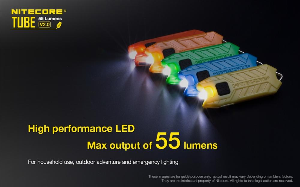 Nitecore Tube V2.0 DEL Rechargeable Porte-clés torche 55 LM 9 G Wild Sky Gear Ul