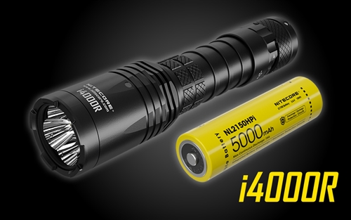 NITECORE i4000R 4400 Lumen Long-Throw USB-C Rechargeable Tactical Flashlight with 5000mAh battery