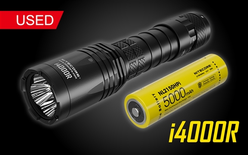 NITECORE i4000R 4400 Lumen Long-Throw USB-C Rechargeable Tactical Flashlight with 5000mAh battery - Used