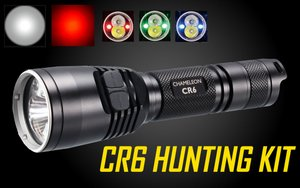 Nitecore CR6 440 Lumen Rechargeable LED Hunting Flashlight w/ Red White Green Beams & Rifle Mounting Kit