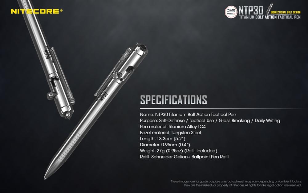 NITECORE NTP30 Titanium Bidirectional Bolt Action Tactical Pen