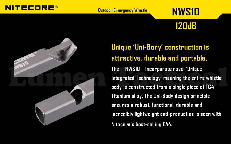 Rescue 2016 Version Nitecore NWS10 Titanium Whistle Survivial Emergency