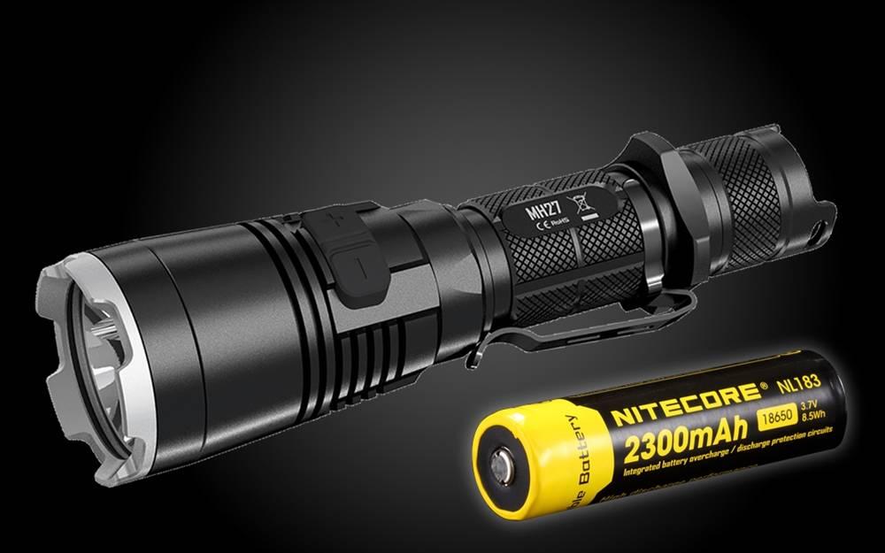 Nitecore mh27 avec 18650 Batterie étui Micro usb-Câble de charge 1000lm 3 de couleur LED