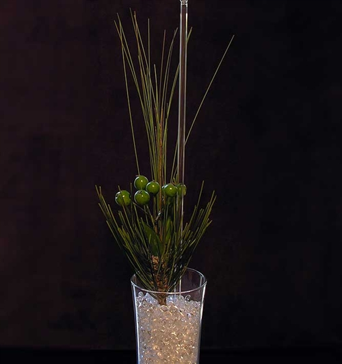 Green berry spray in sofie vase with diamond drops