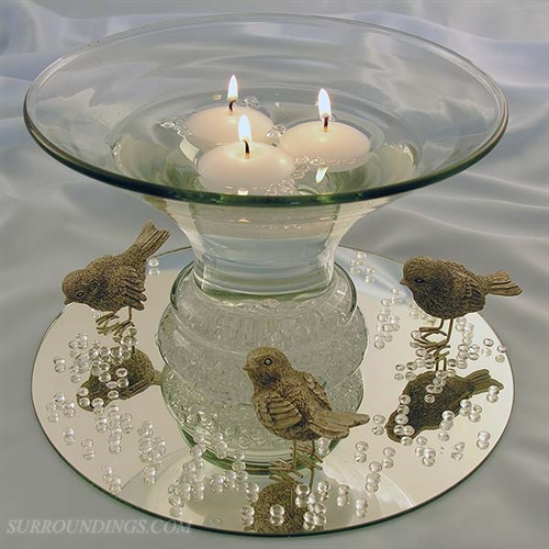 Glass flared bubble bowl for floating candle centerpieces