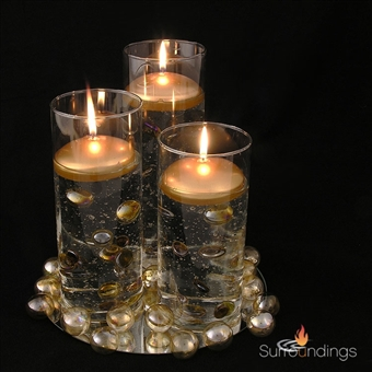 "3"" silver and gold round floating candles"