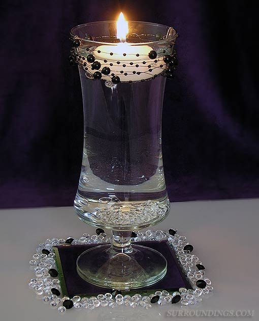 Black Amp White Floating Candle Centerpiece
