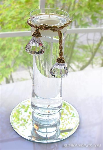 Diamond tassel floating candle mini centerpiece