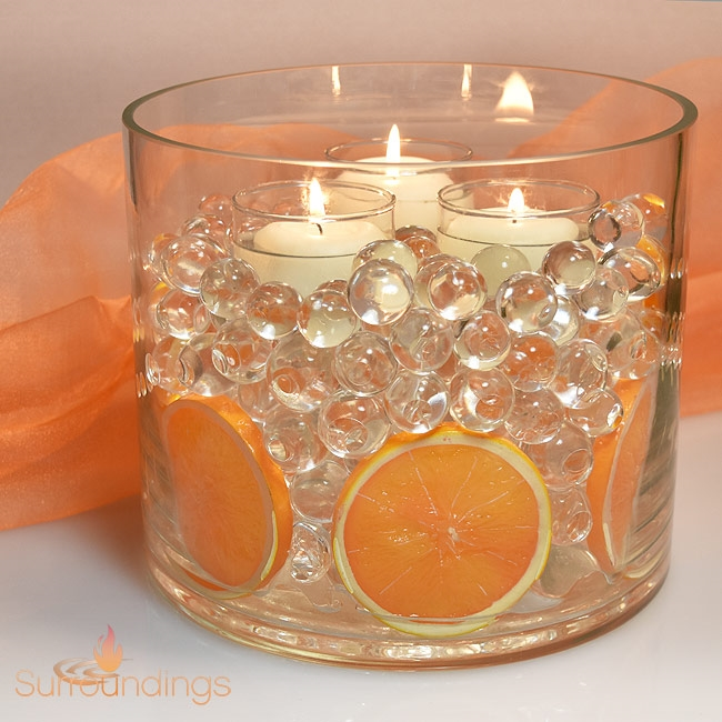 Floating Candles Centerpieces Ideas For Weddings: Fruit Slices In Water Pearls Floating Candle Centerpiece