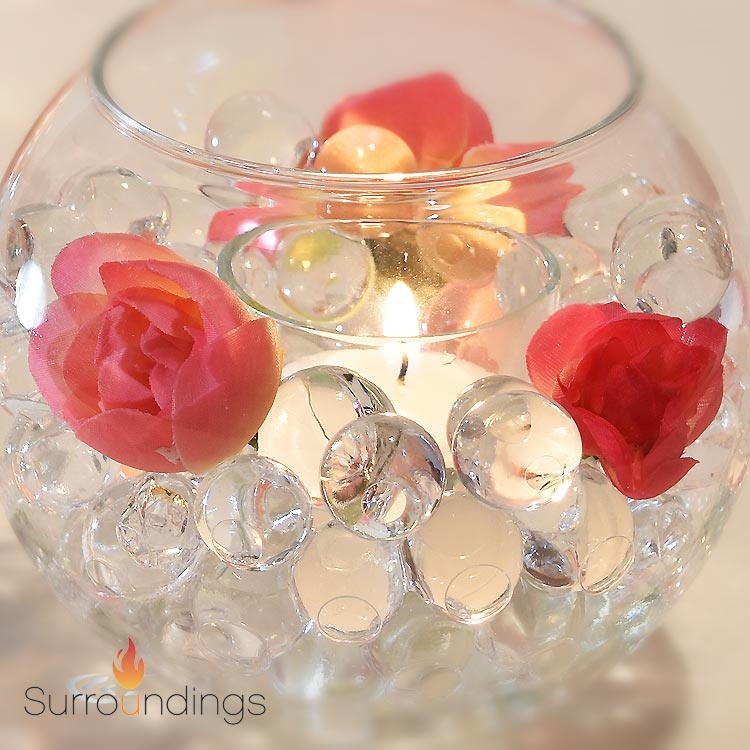 Mini bubble water pearls candle centerpiece kit