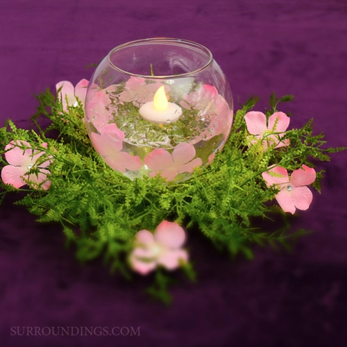 Feather Fern & Diamond Petal Candle Centerpiece kit