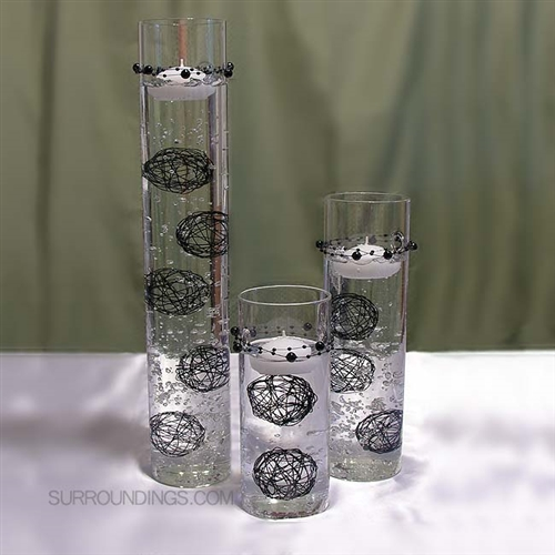 Sconce Cylinder Set And Black Spheres Floating Candle