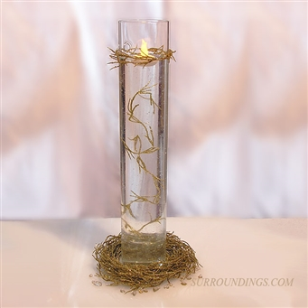 Sconce in Gold Nest Centerpiece includes gold vine garland and battery floating candle