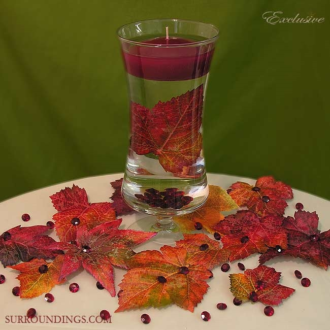 """Fall Centerpiece Floating Candle Ideas: Giselle Vase With 3"""" Floating Candle, Decorative Leaves"""