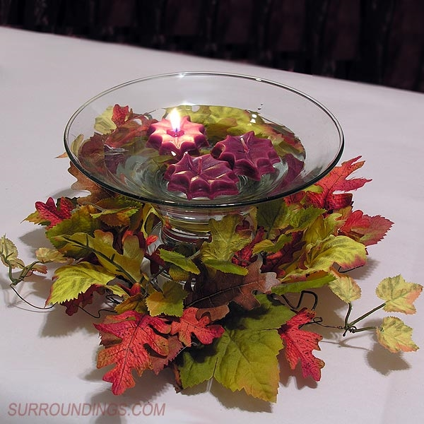 Mini Fall Leaf Floating Candles In Flare Bubble Bowl Centerpiece