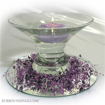 Lavender Rose & purple bead garland floating candle centerpiece