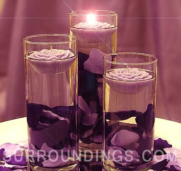 Large Cylinder And Floating Rose Candles Centerpiece Kit With Rose