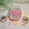 Bubble roses floating candle centerpiece with rose petals and rosebud candles