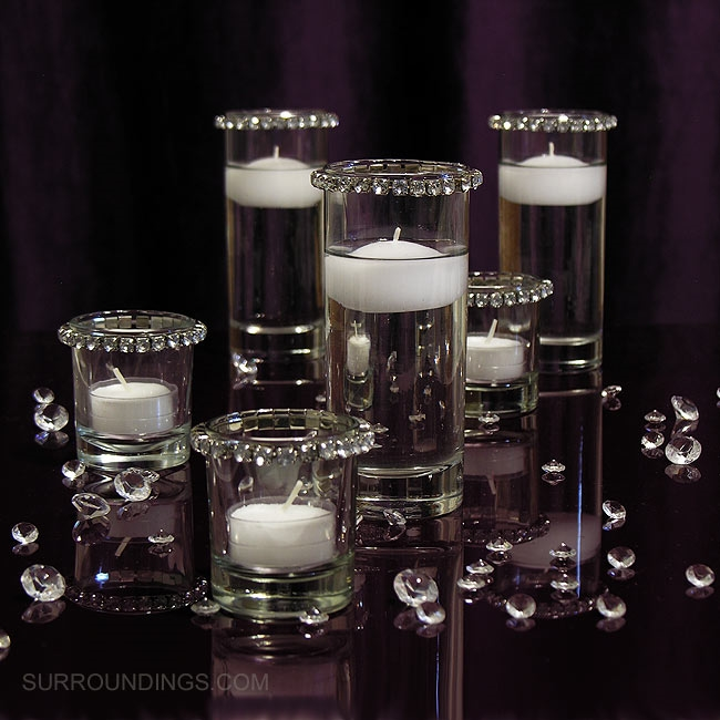Mini cylinders crystals floating candle centerpiece kit